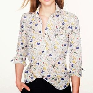 JCrew Women's French Print Popover Shirt Size 8